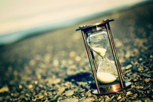 hourglass with time running out