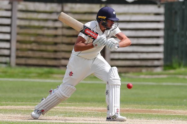 jack leaning of york cricket club leaves a ball outside off stump
