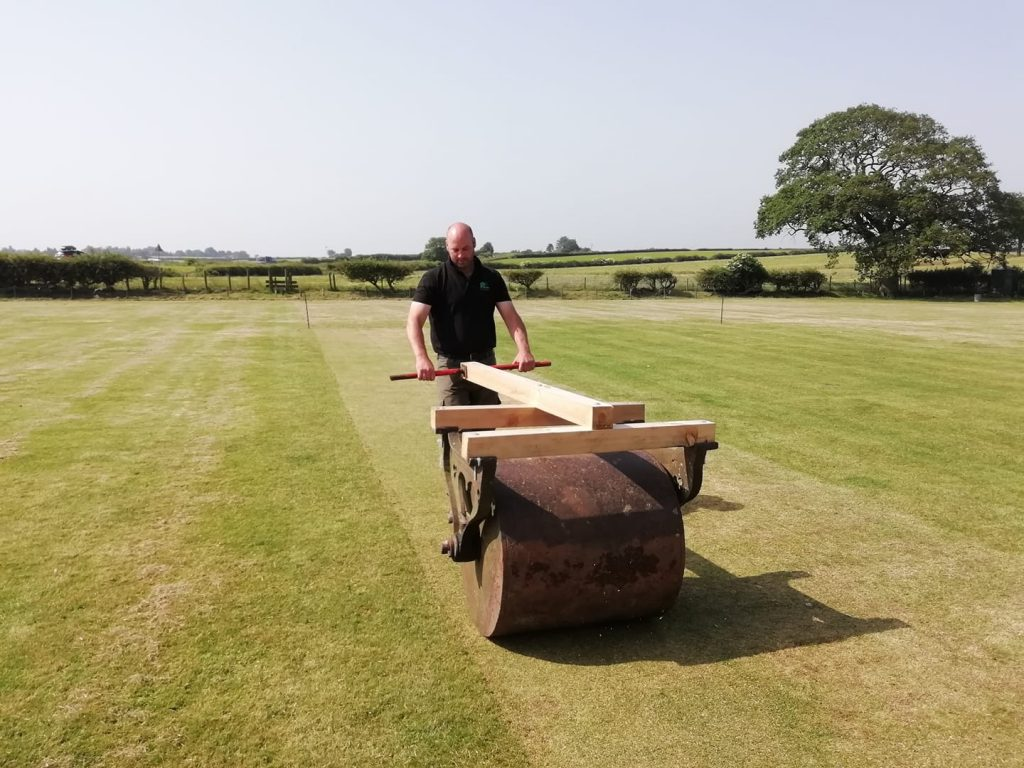 Jim rolls the wicket at Lockton Cricket Club